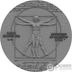 LEONARDO VINCI 500 Aniversario 2 Oz Moneda Plata 2000 Francos Cameroon 2019