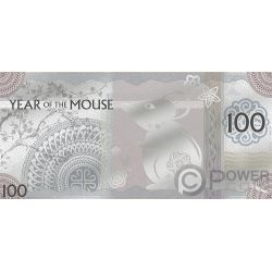 YEAR OF THE MOUSE Topo Foil Banconota Argento 100 Togrog Mongolia 2020