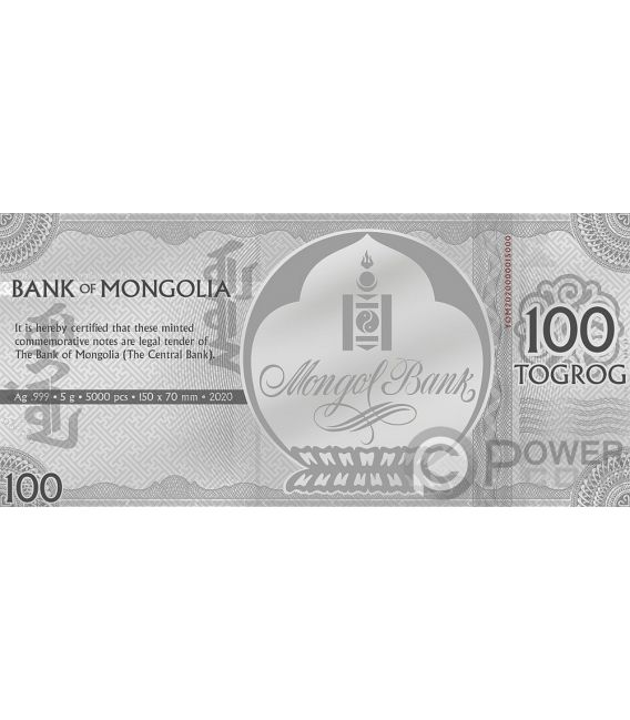 YEAR OF THE MOUSE Foil Silver Note 100 Togrog Mongolia 2020