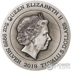 DRAGON 5 Oz Moneda Plata 5$ Tuvalu 2019