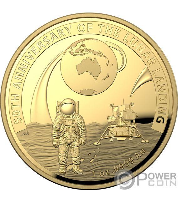 MOON LANDING 50th Anniversary Dome 1 Oz Gold Coin 100$ Australia 2019