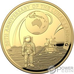 MOON LANDING Luna 50 Anniversario Dome 1 Oz Moneta Oro 100$ Australia 2019
