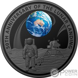 MOON LANDING 50th Anniversary Dome 1 Oz Silver Coin 5$ Australia 2019
