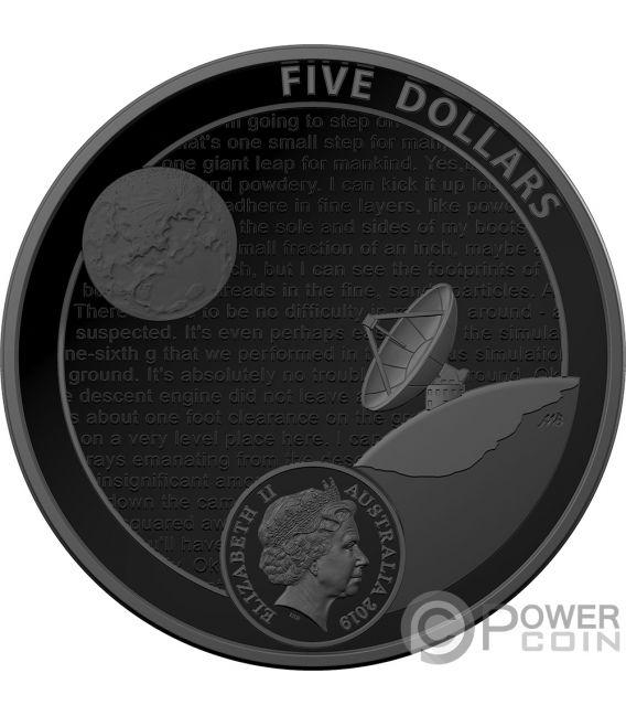 MOON LANDING 50th Anniversary Dome 1 Oz Silver Coin 5$ Australia 2019