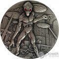 ALIEN INVASION Swarovski 2 Oz Silver Coin 10000 Francs Chad 2018
