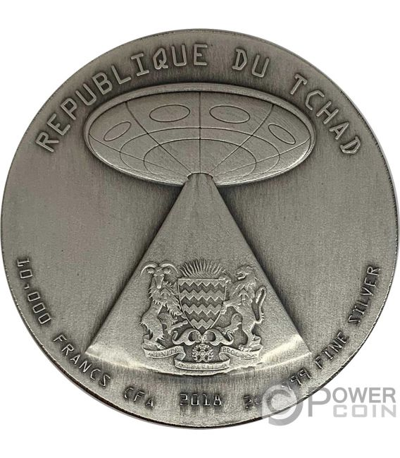 ALIEN INVASION Swarovski 2 Oz Silver Coin 10000 Francs Chad 2018