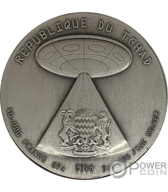 ALIEN INVASION Вторжение инопланетян 2 Oz Серебренная Монета 10000 франков Чад 2018