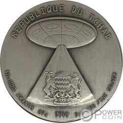 ALIEN INVASION Swarovski 2 Oz Silber Münze 10000 Franken Chad 2018