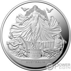 TREATY VERSAILLES 100 Юбилей 1 Oz Монета Серебро 5$ Австралия 2019
