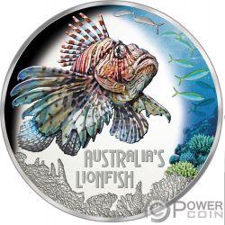 LIONFISH Pesce Leone Australia Deadly Dangerous 1 Oz Moneta Argento 1$ Tuvalu 2019