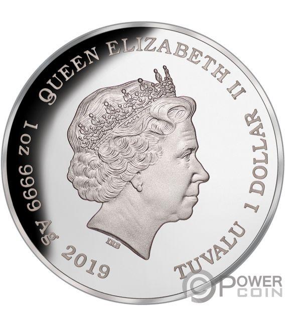 LIONFISH Pez Leon Australia Deadly Dangerous 1 Oz Moneda Plata 1$ Tuvalu 2019