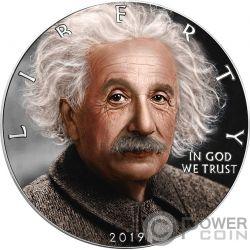 EINSTEIN Albert Walking Liberty 1 Oz Серебреная монета 1$ США 2019