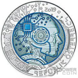 ARTIFICIAL IINTELLIGENCE Нио́бий биметалл Серебро Монета 25€ Euro Австрия 2019