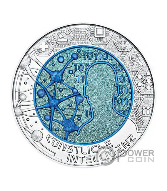ARTIFICIAL INTELLIGENCE Niobio Niobium Bimetallica Moneta Agento 25€ Euro Austria 2019