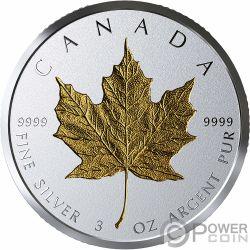 MAPLE LEAF Acero 40 Anniversario Placcatura Oro 3 Oz Moneta Argento 50$ Canada 2019
