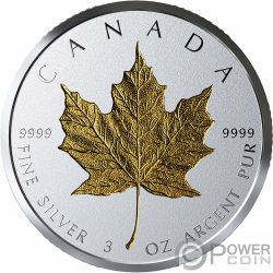 MAPLE LEAF Arce 40 Aniversario Chapado Oro 3 Oz Moneda Plata 50$ Canada 2019