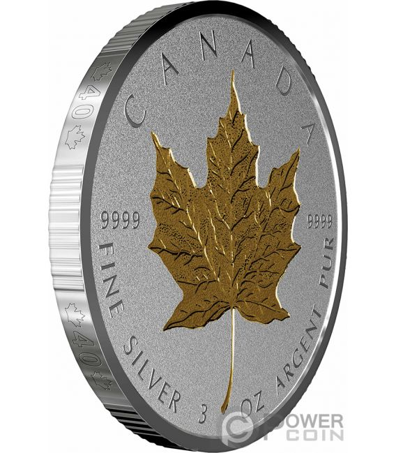 MAPLE LEAF 40th Anniversary Gold Plating 3 Oz Silver Coin 50$ Canada 2019