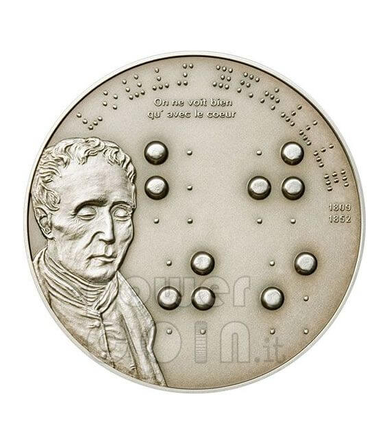 BRAILLE Louise 200th Anniversary Silver Coin 5$ Palau 2009