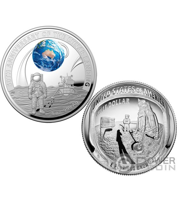 Moon Landing 50th Anniversary Dome Set 2 Silver Coins 5