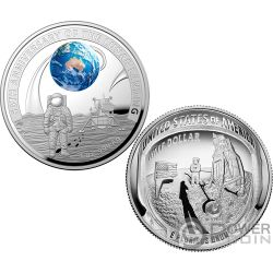 MOON LANDING 50th Anniversary Dome Set 2 Silver Coins 5$ Australia USA 2019