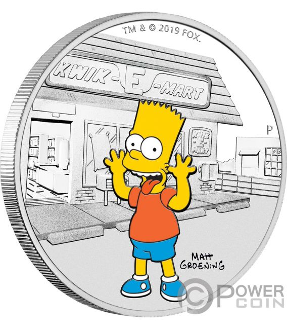 BART Simpsons 1 Oz Silver Coin 1$ Tuvalu 2019