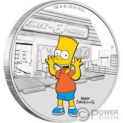 BART Simpsons 1 Oz Moneda Plata 1$ Tuvalu 2019