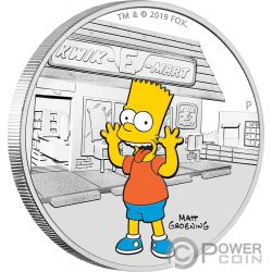 BART Simpsons 1 Oz Moneta Argento 1$ Tuvalu 2019