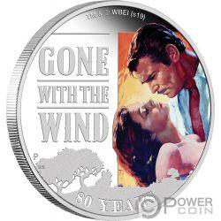 GONE WITH WIND Ветер 80 Юбилей 1 Oz Монета Серебро 1$ Тувалу 2019