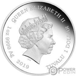 GONE WITH WIND Viento Mago 80 Aniversario 1 Oz Moneda Plata 1$ Tuvalu 2019