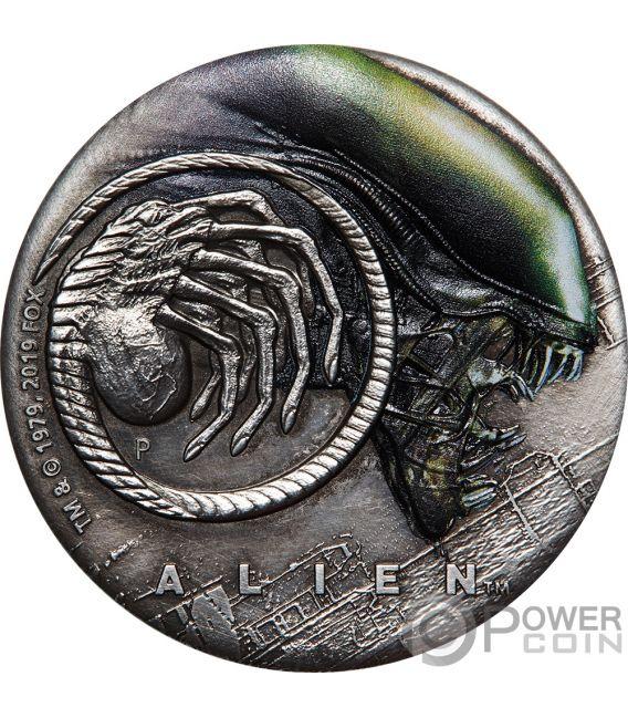 ALIEN 40th Anniversary 2 Oz Silver Coin 2$ Tuvalu 2019