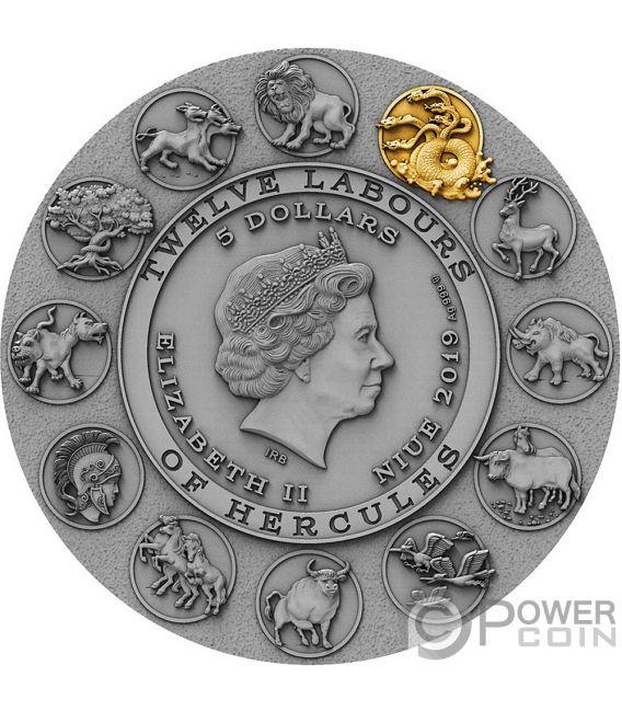 LERNAEAN HYDRA Геркулес Двенадцать Подвигов Геракла 2 Oz Монета Серебро 5$ Ниуэ 2019