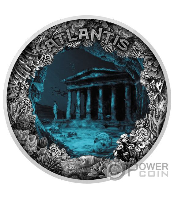 ATLANTIS Sunken City Dome 2 Oz Silver Coin 5$ Niue 2019