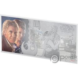HAN SOLO LEIA Star Wars Force Awakens Foil Silver Note 1$ Niue 2019