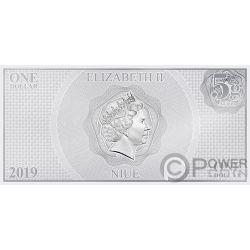 HAN SOLO LEIA Guerre Stellari Risveglio Forza Banconota Argento 1$ Niue 2019