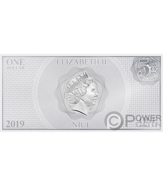 KYLO REN Star Wars Force Awakens Foil Silver Note 1$ Niue 2019
