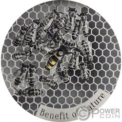 HONEYBEE Ape Benefit of Nature 1 Oz Argento 1000 Franchi Cameroon 2019