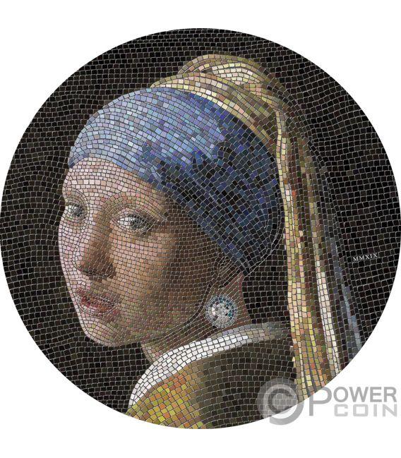 GIRL PEARL EARRING Joven Perla Vermeer Great Micromosaic Passion 3 Oz Moneda Plata 20$ Palau 2019