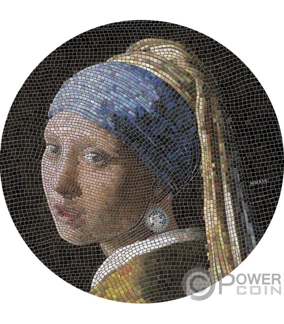 GIRL PEARL EARRING Mädchen Perlenohrgehänge Vermeer Great Micromosaic Passion 3 Oz Silber Münze 20$ Palau 2019