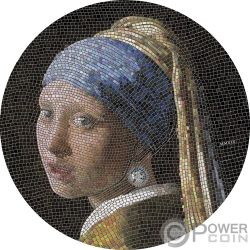 GIRL PEARL EARRING Ragazza Orecchino Perla Vermeer Great Micromosaic Passion 3 Oz Moneta Argento 20$ Palau 2019