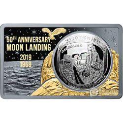 MOON LANDING 50 Anniversario Placcatura Oro 2 Oz Moneta Argento Set 1$ USA 2019