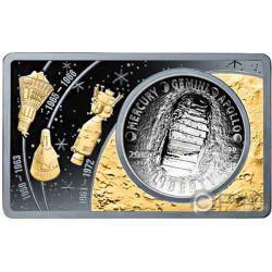 MOON LANDING 50th Anniversary 2 Oz Серебро Монета Set 1$ США 2019