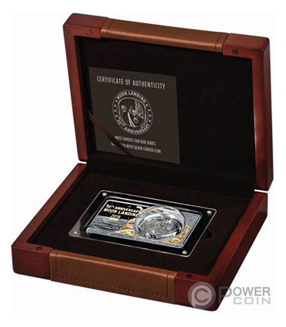 MOON LANDING 50th Anniversary Gold Plating 2 Oz Silver Coin Set 1$ USA 2019