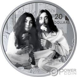 GIVE PEACE A CHANCE Lennon Ono 50 Anniversario 1 Oz Moneta Argento 20$ Canada 2019