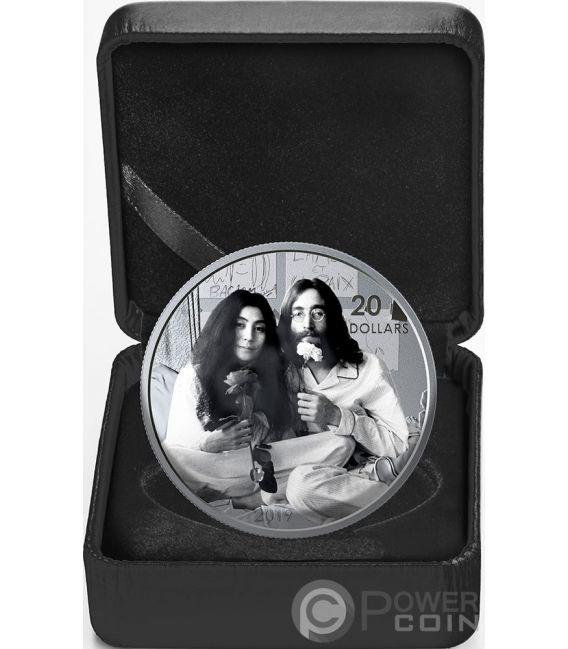 GIVE PEACE A CHANCE Леннон Оно Пятидесятилетие 1 Oz Серебряная Монета 20$ Канада 2019