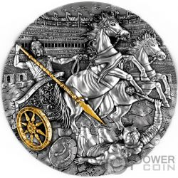 CHARIOT Rydwan Warfare Gold Plating 2 Oz Silver Coin 5$ Niue 2019