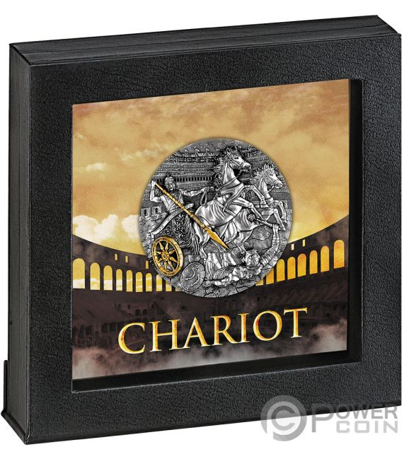 CHARIOT Rydwan Warfare Gold Plating 2 Oz Silver Coin 5$ Niue 2019