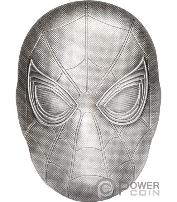 SPIDER MAN MASK Marvel 2 Oz Silver Coin 5$ Fiji 2019