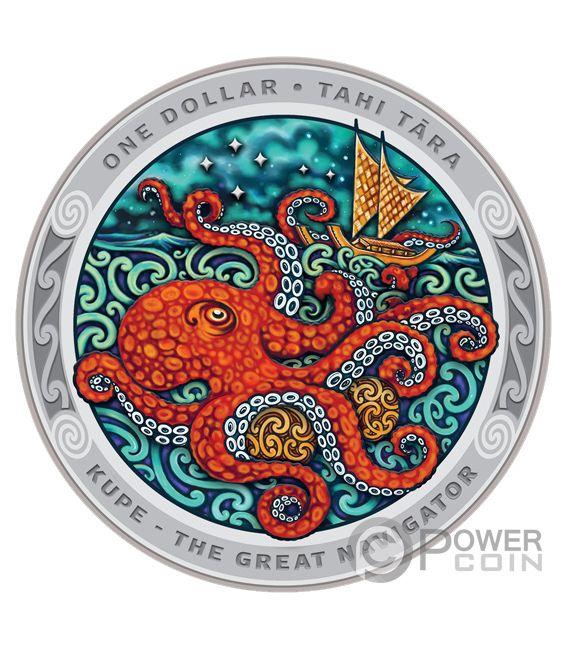 KUPE Великий Путешественник Осминог Tekau Tara Набор 2 Серебро Монета 1$ Новая Зеландия 2019