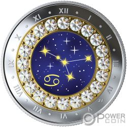 CANCER Krebs Zodiac Swarovski Crystal Silber Münze 5$ Canada 2019