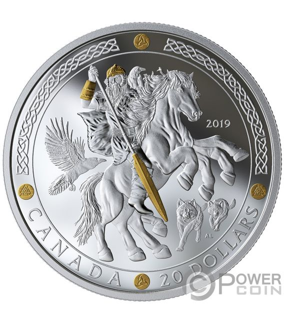 ODIN Norse Gods 1 Oz Silver Coin 20$ Canada 2019